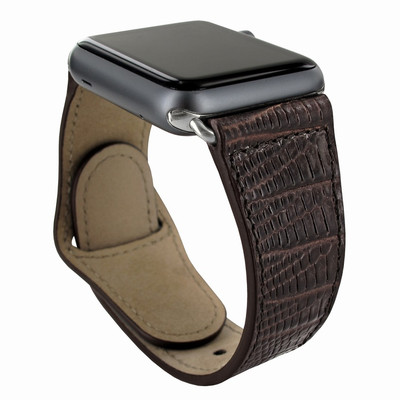 Piel Frama Apple Watch 42 mm Leather Strap - Brown Cowskin-Lizard / Silver Adapter