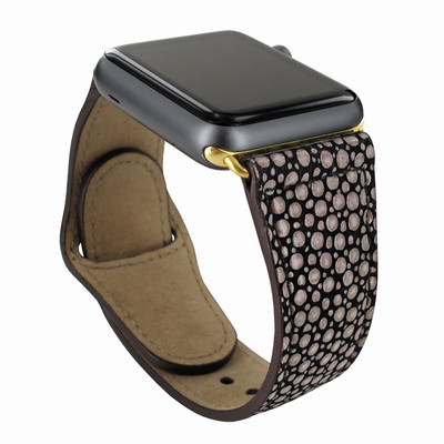 Piel Frama Apple Watch 42 mm Leather Strap - Brown Cowskin-Stingray / Gold Adapter