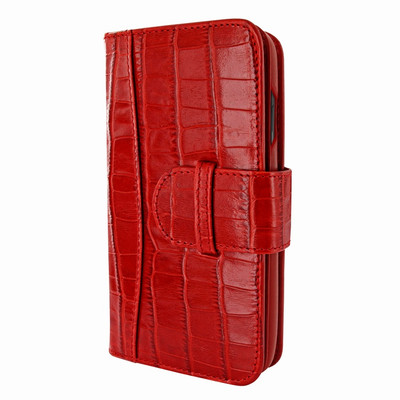 Piel Frama iPhone X / Xs WalletMagnum Leather Case - Red Cowskin-Crocodile