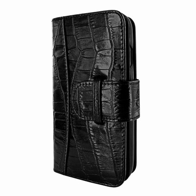 Piel Frama iPhone XR WalletMagnum Leather Case - Black Cowskin-Crocodile