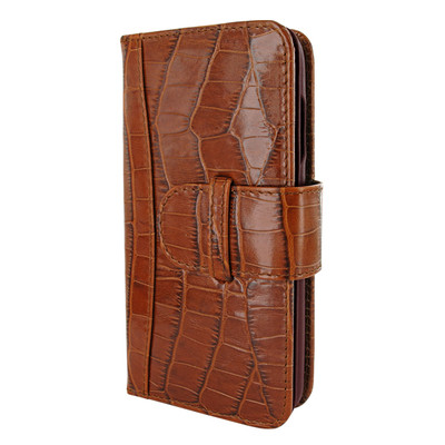Piel Frama iPhone XR WalletMagnum Leather Case - Brown Cowskin-Crocodile