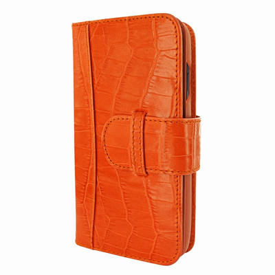 Piel Frama iPhone XR WalletMagnum Leather Case - Orange Cowskin-Crocodile