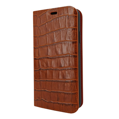 Piel Frama iPhone XR FramaSlimCards Leather Case - Brown Cowskin-Crocodile