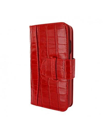Piel Frama iPhone 13 WalletMagnum Leather Case - Red Crocodile