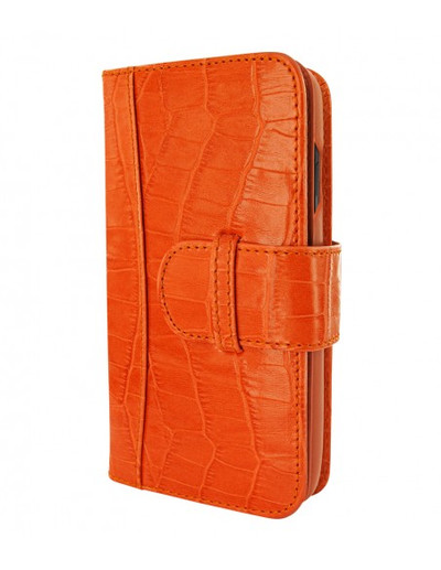 Piel Frama iPhone 12 | 12 Pro WalletMagnum Leather Case - Orange Crocodile