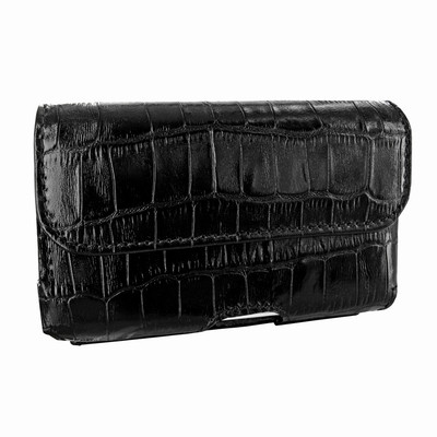 Piel Frama iPhone 6 / 6S / 7 / 8 Horizontal Pouch Leather Case - Black Cowskin-Crocodile