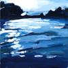 """Original work """"Sun on Lady Bird (Blues)"""" by Jamie Billman McCormick. 6x6"""", acrylic on birch panel."""