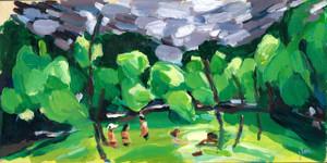 "Original work ""Livin' is Easy"" by Jamie Billman McCormick. 6x8"" acrylic on birch panel."