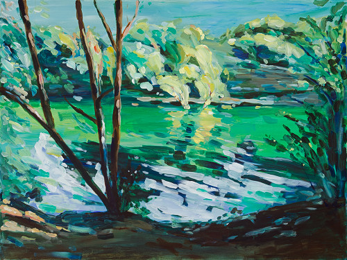 "Print of original work, ""Morning at Barton Creek."""