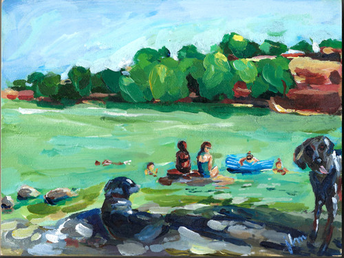 """Everybody's Here,"" original work by Jamie Billman McCormick. Acrylic on 6x8"" birch panel."
