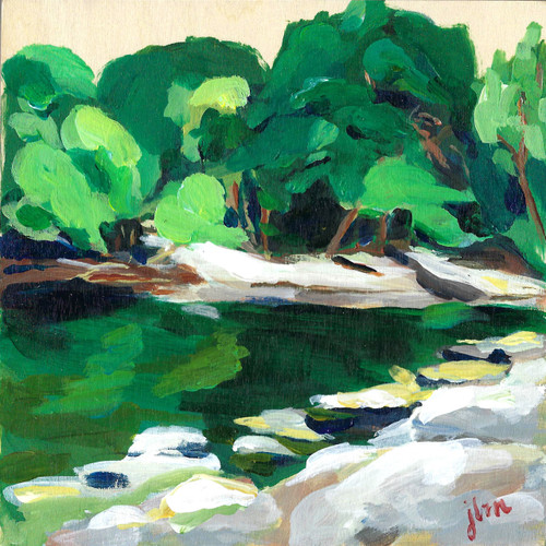 "Original work, ""Shhhh"" by Jamie Billman McCormick. 6x6"", acrylic on birch panel."