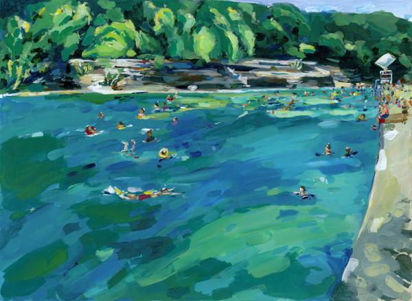 Confetti Swimmers (Barton Springs) - PRINT