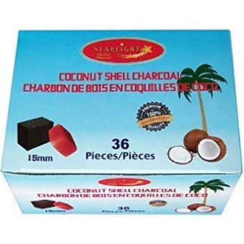STARLIGHT 15MM COCONUT SHELL CHARCOAL CUBES, BOX OF 36