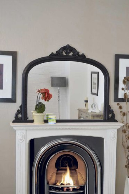 THE BLACK CRESTED OVERMANTLE MIRROR