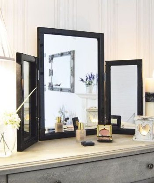 THE BLACK GROSVENOR THREE FOLD MIRROR