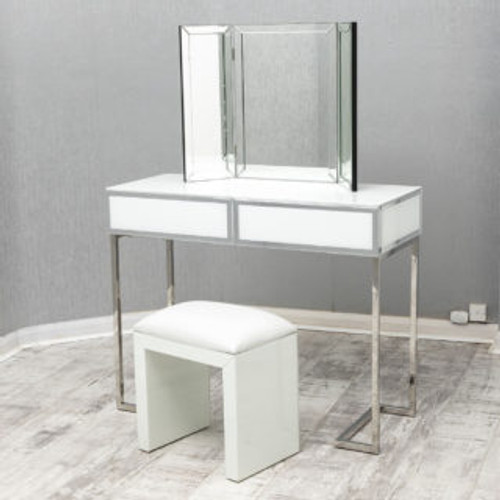 THE PALERMO WHITE DRESSING TABLE SET