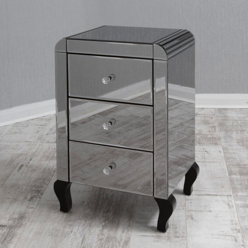 THE SMOKED REFLECTION 3 DRAWERS BEDSIDE