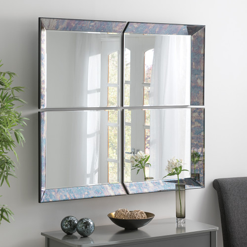 THE 4 PANEL ANTIQUE BLUE PICARDY MIRROR