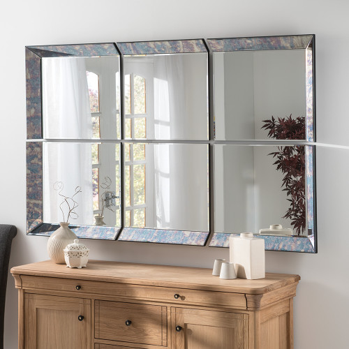 THE ANTIQUE BLUE 6 PANEL PICARDY MIRROR