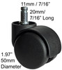 Heavy Duty Office Chair Twin Wheel Carpet Casters Replacements Rated 110 lbs Each 5 pc Set