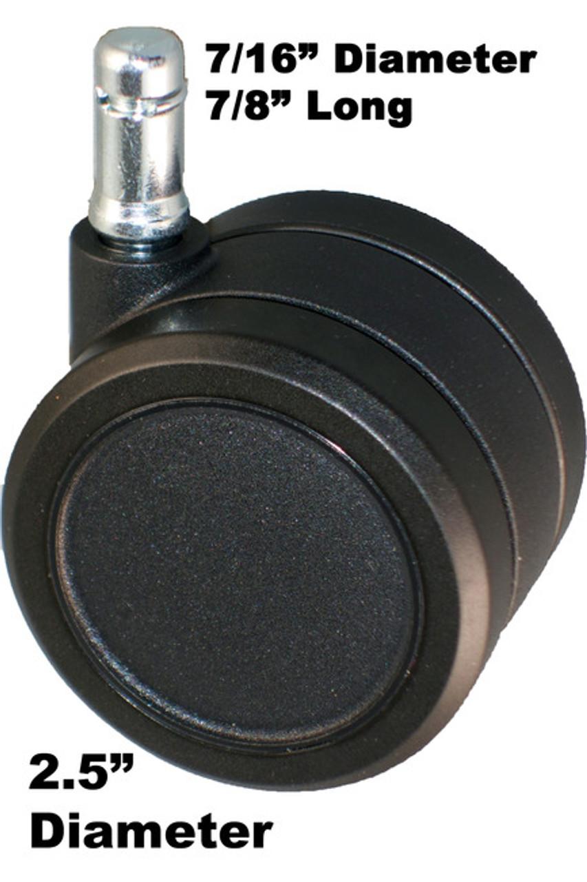 "Carpeted Floor Twin Wheel Casters 2.5"" Diameter 5 pc Set"