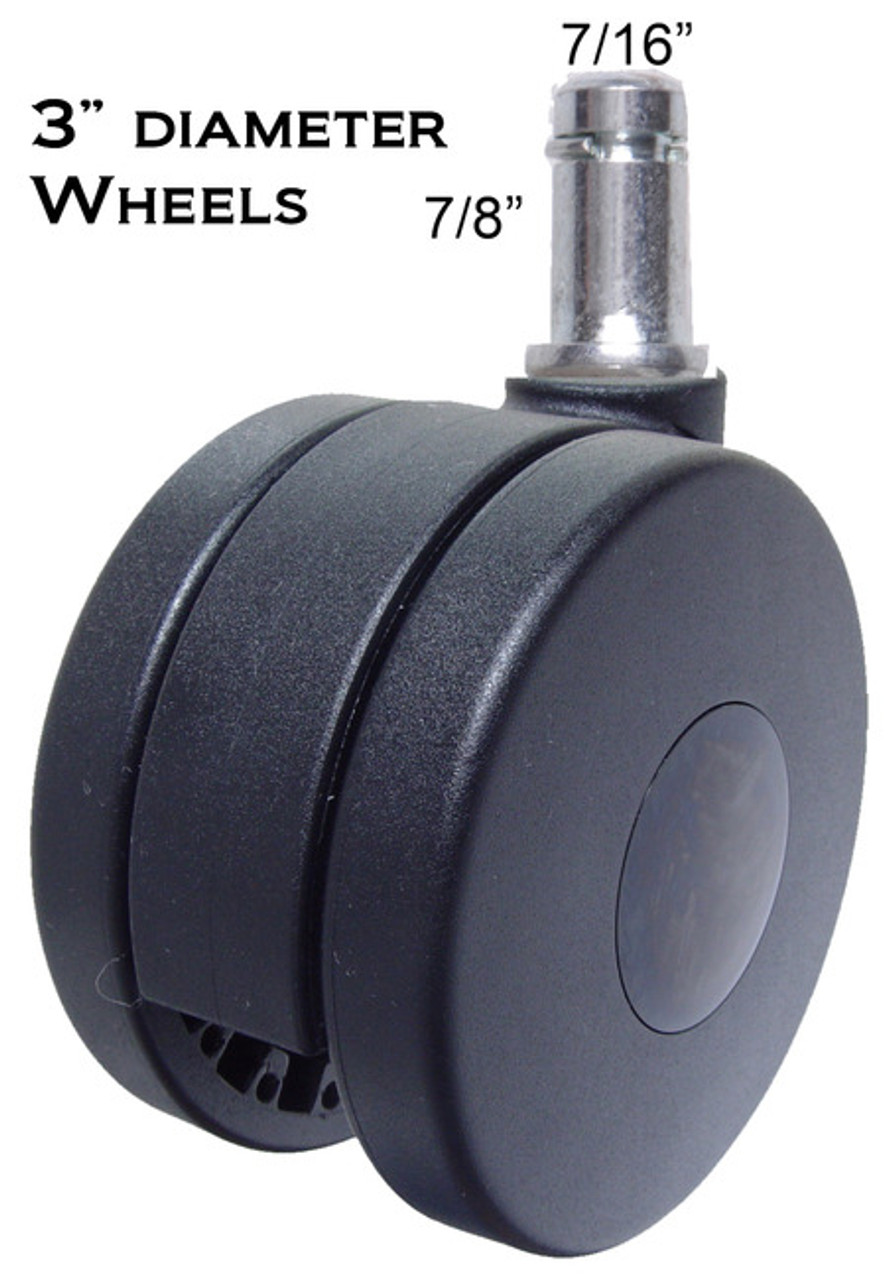 """Heavy Duty Chair Casters 3"""" Wheel Diameter Rated 175 lbs Each 5 pc Set"""