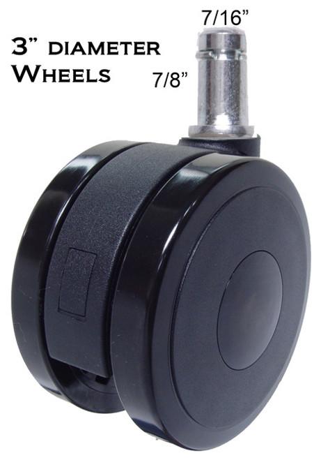 "3"" Diameter Heavy Duty Soft Wheel Casters for All Types Of Hard Floors"