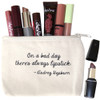 """""""On a Bad Day There's Always Lipstick""""  Audrey Hepburn Small Canvas Bag"""