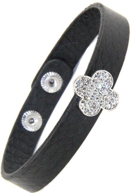 Leather Snap Bracelet with Rhinestone Tory Burch Inspired Cross Slide