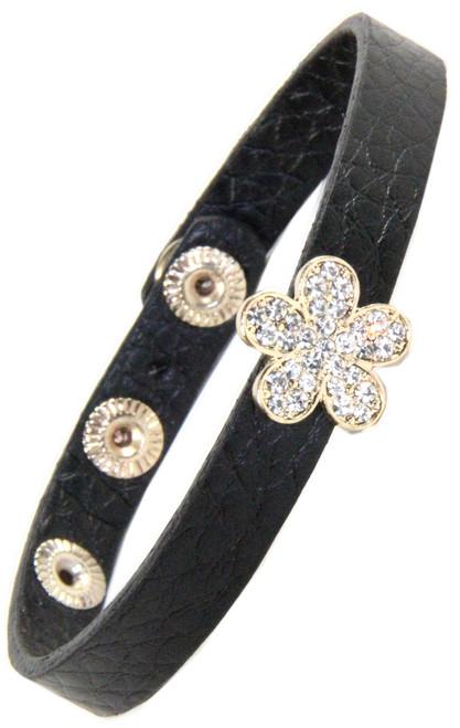 Leather Snap Bracelet with Rhinestone flower gold Slide
