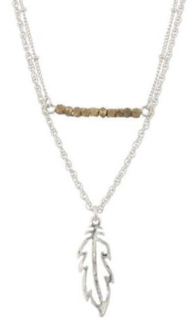 "18"" Feather Double Bar Necklace in Silver"