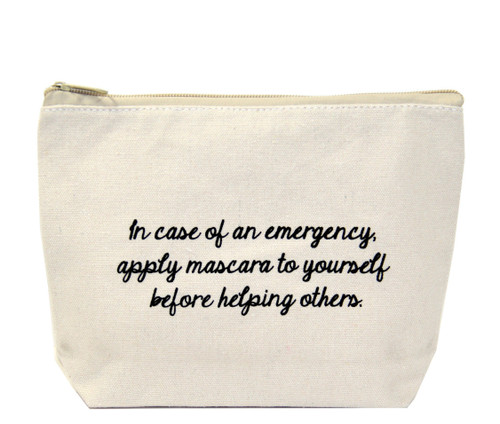 In Case Of an Emergency Apply Mascara to Yourself Before Others Jules Canvas Bag