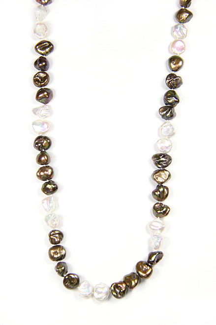 """Knotted Keshi Pearl 36"""" Necklace in Bronze and White from 2 Lisas Boutique"""