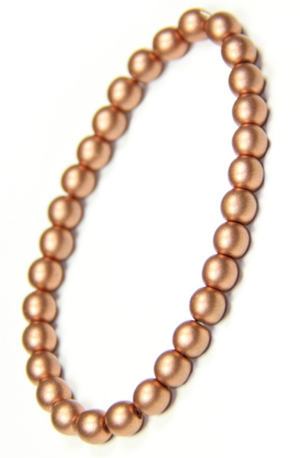 Matte Copper Glass Bead Stretchy Bracelet