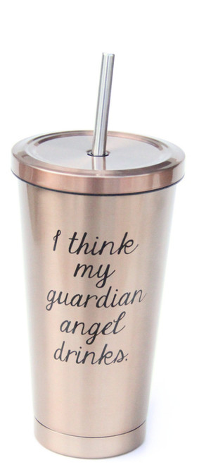 I Think My Guardian Angel Drinks Stainless Steel To Go Cup from Jules Products