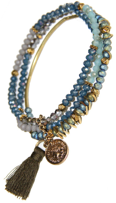 Marine Blue Crystal and Gold Filigree Stretchy Bracelet Stack With Tassel and coin.