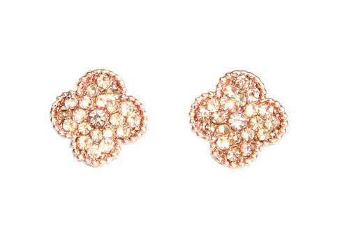 Rose Gold Crystal Stud Earrings by 2 Lisas Boutique