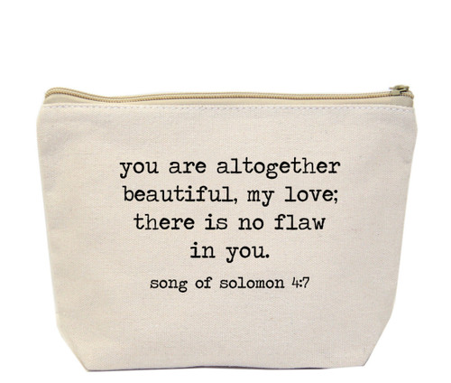 You are all together beautiful my love, there is no flaw in you. Solomon 4:7 Canvas Bag