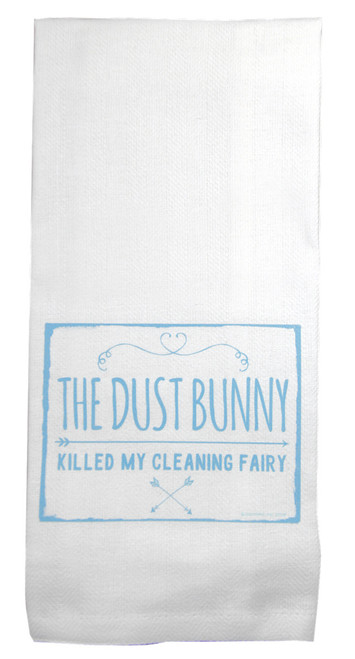 The Dust Bunny Killed My Cleaning Fairy Tea Towel by JazzyArts sold at 2LisasBoutique.com