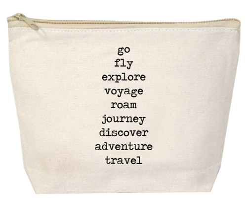 Go Fly Explore Voyage Roam Journey Discover Adventure Travel Canvas Zipper Bag by Jules Products