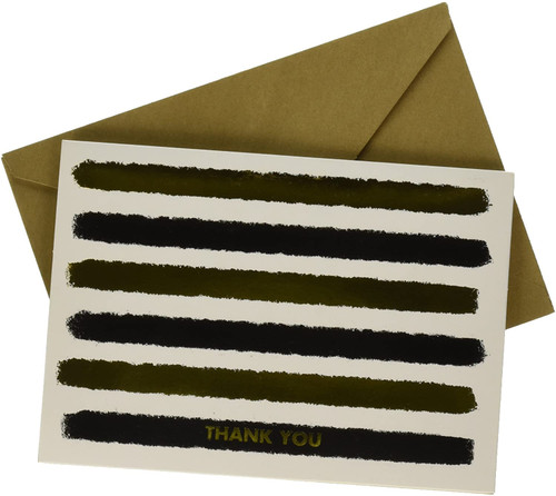 Black and Metallic Gold Thank You Cards, 20 Count