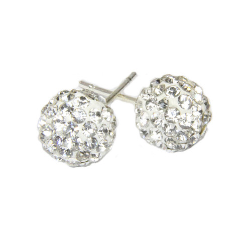 Crystal ball rhinestone pave earrings from 2 Lisas Boutique