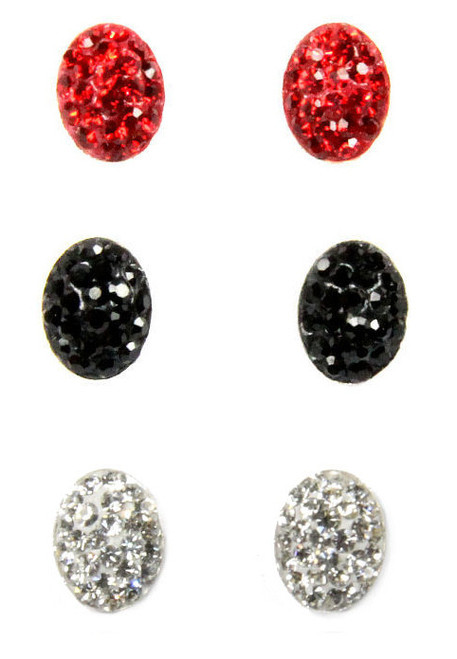 Oval Rhinestone Flat Earrings