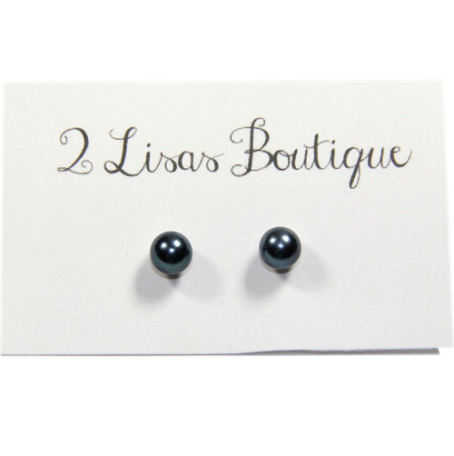 Natural Peacock Akoya Pearl Stud Earrings on 14K White Gold and sold by 2 Lisas Boutique