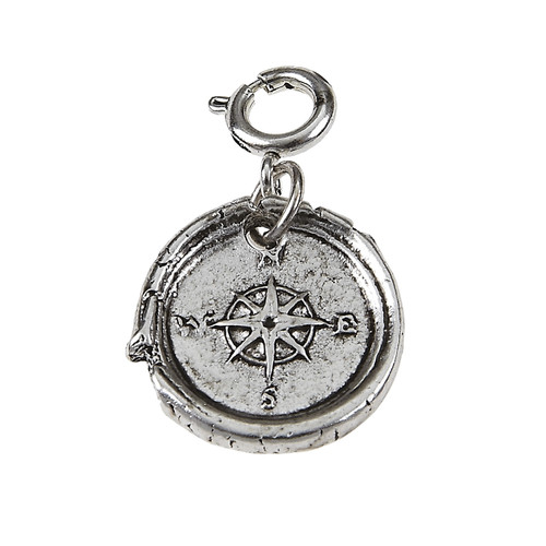 LIGHT ANT. SILVER COMPASS WAX CASTING CHARM with spring ring