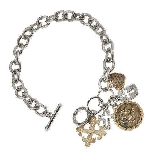 Epoxy Cross Charm Cluster Bracelet by Jane Marie sold at 2 Lisas Boutique