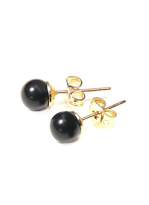 Medium Natural Black Onyx Gemstone Ball 14k Yellow Gold Filled Stud Earrings 6mm
