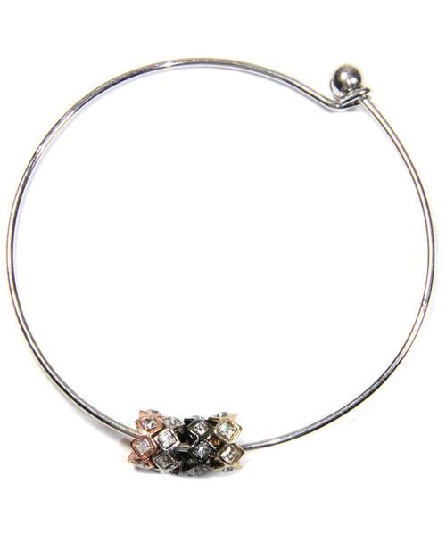 Four-tone Crystal Slider Bangle Bracelet