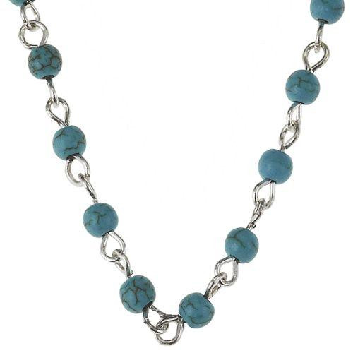 """Turquoise and silver beaded 16"""" chain from Jane Marie Jewelry from 2 Lisas Boutique"""