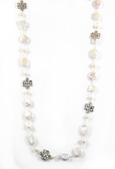 Long Pearl and Silver Celtic knot necklace tied on silk by 2 Lisas Boutique